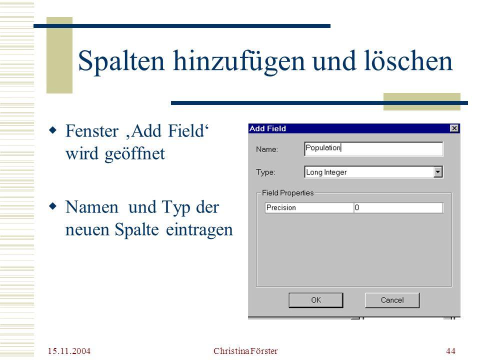 15.11.2004 Christina Förster44 Spalten hinzufügen und löschen  Fenster 'Add Field' wird geöffnet  Namen und Typ der neuen Spalte eintragen