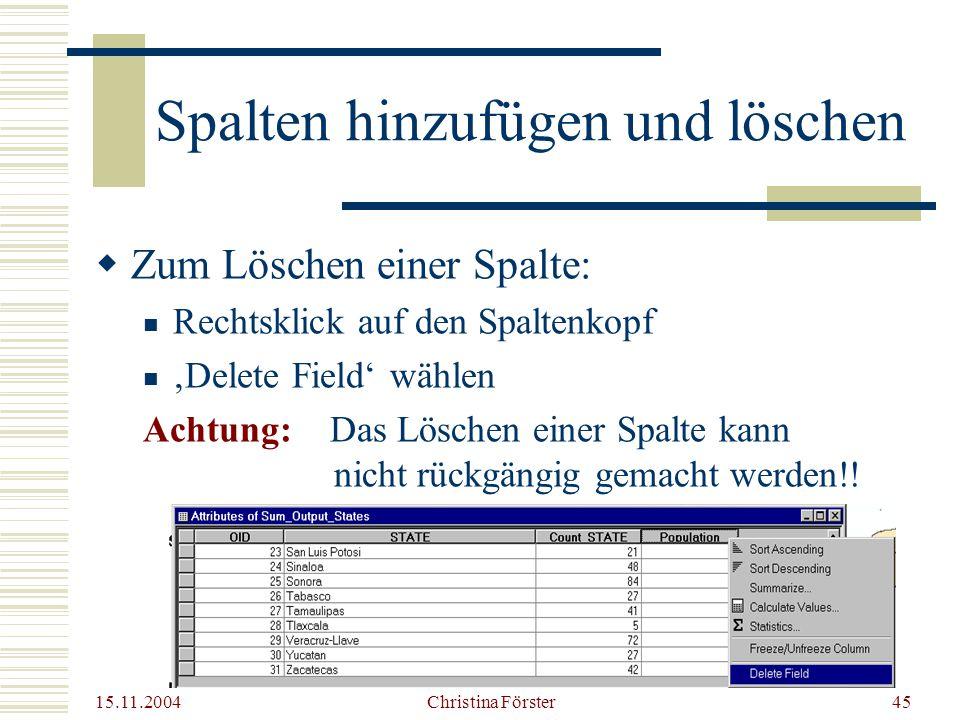 15.11.2004 Christina Förster45  Zum Löschen einer Spalte: Rechtsklick auf den Spaltenkopf 'Delete Field' wählen Achtung: Das Löschen einer Spalte kann nicht rückgängig gemacht werden!.