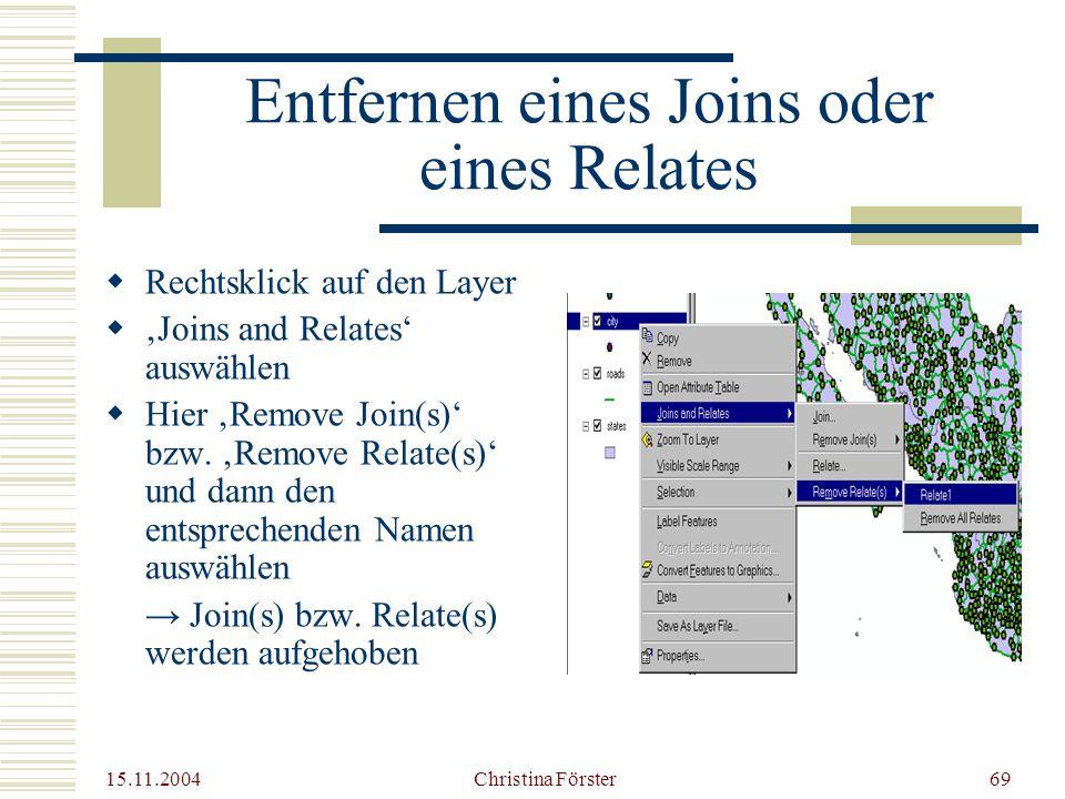 15.11.2004 Christina Förster69 Entfernen eines Joins oder eines Relates  Rechtsklick auf den Layer  'Joins and Relates' auswählen  Hier 'Remove Join(s)' bzw.