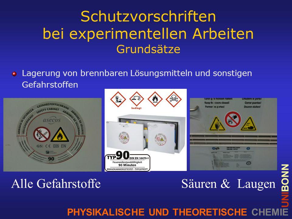 PHYSIKALISCHE UND THEORETISCHE CHEMIE UNIBONN Schutzvorschriften bei experimentellen Arbeiten Grundsätze Lagerung von brennbaren Lösungsmitteln und sonstigen Gefahrstoffen Alle GefahrstoffeSäuren & Laugen