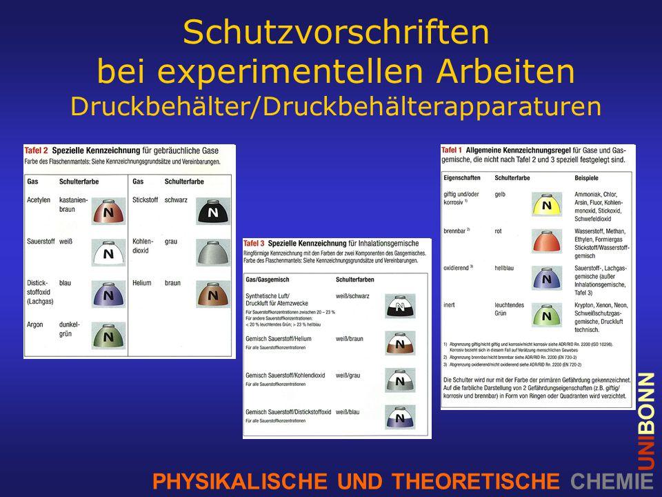 PHYSIKALISCHE UND THEORETISCHE CHEMIE UNIBONN Schutzvorschriften bei experimentellen Arbeiten Druckbehälter/Druckbehälterapparaturen