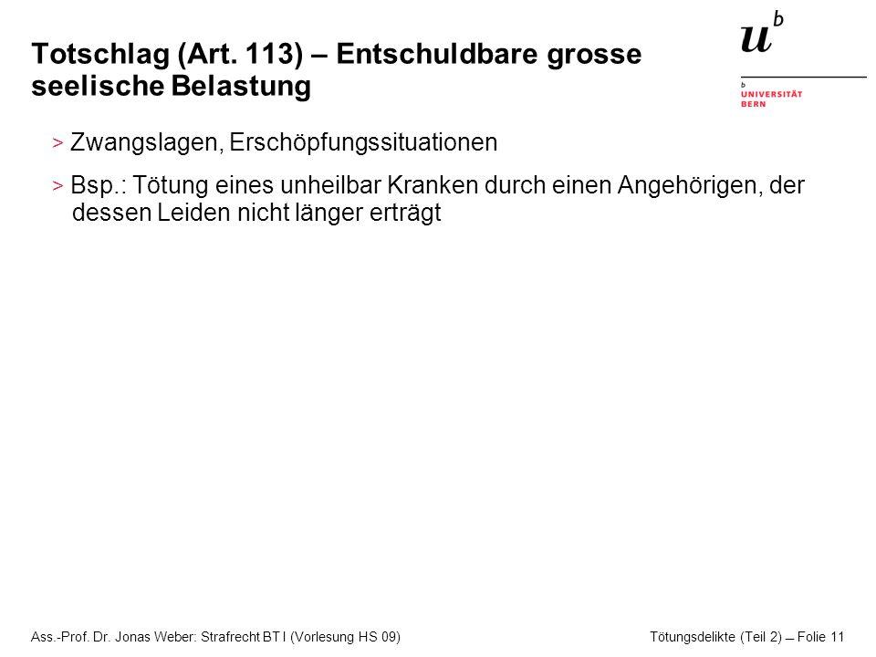 Ass.-Prof. Dr. Jonas Weber: Strafrecht BT I (Vorlesung HS 09) Tötungsdelikte (Teil 2)  Folie 11 Totschlag (Art. 113) – Entschuldbare grosse seelische
