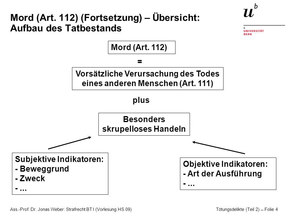 Ass.-Prof. Dr. Jonas Weber: Strafrecht BT I (Vorlesung HS 09) Tötungsdelikte (Teil 2)  Folie 4 Mord (Art. 112) (Fortsetzung) – Übersicht: Aufbau des