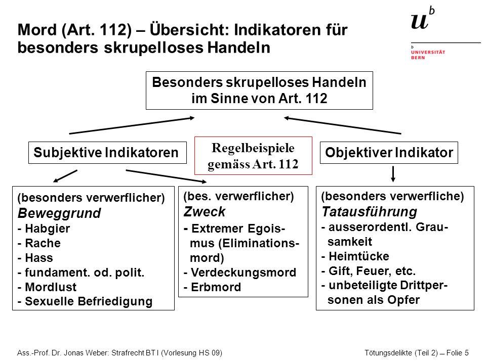 Ass.-Prof. Dr. Jonas Weber: Strafrecht BT I (Vorlesung HS 09) Tötungsdelikte (Teil 2)  Folie 5 Mord (Art. 112) – Übersicht: Indikatoren für besonders