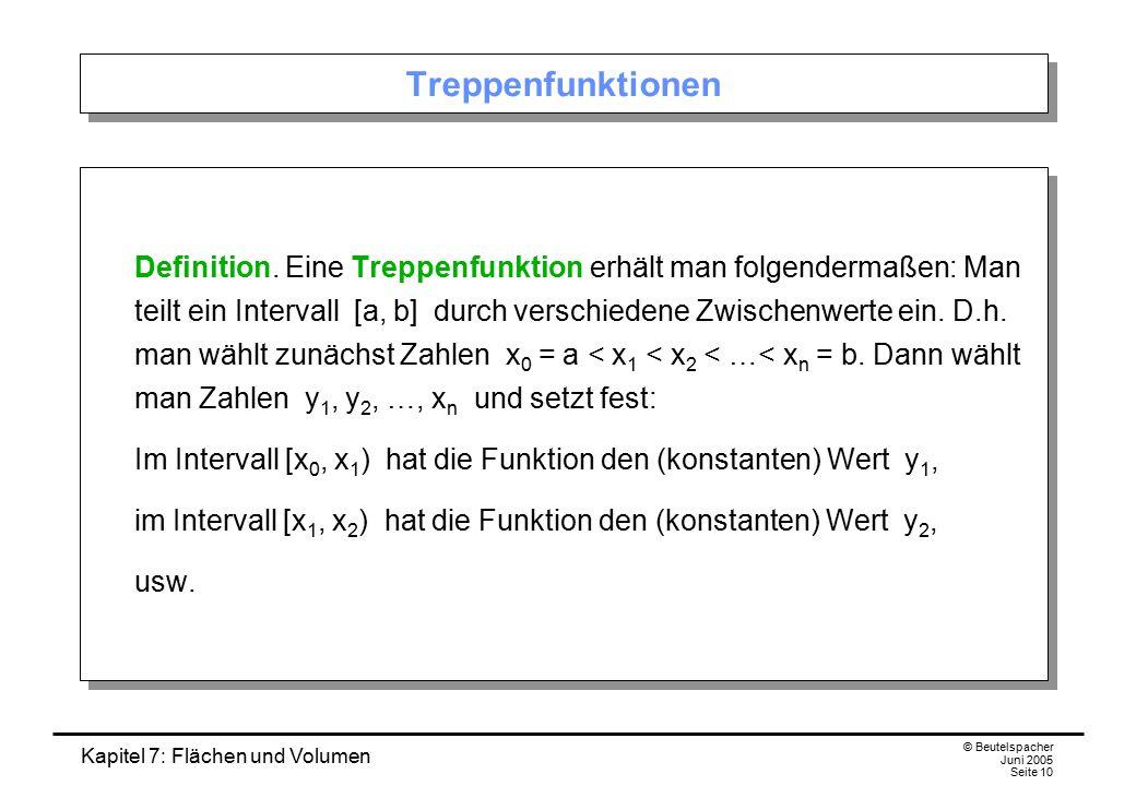 Kapitel 7: Flächen und Volumen © Beutelspacher Juni 2005 Seite 10 Treppenfunktionen Definition. Eine Treppenfunktion erhält man folgendermaßen: Man te