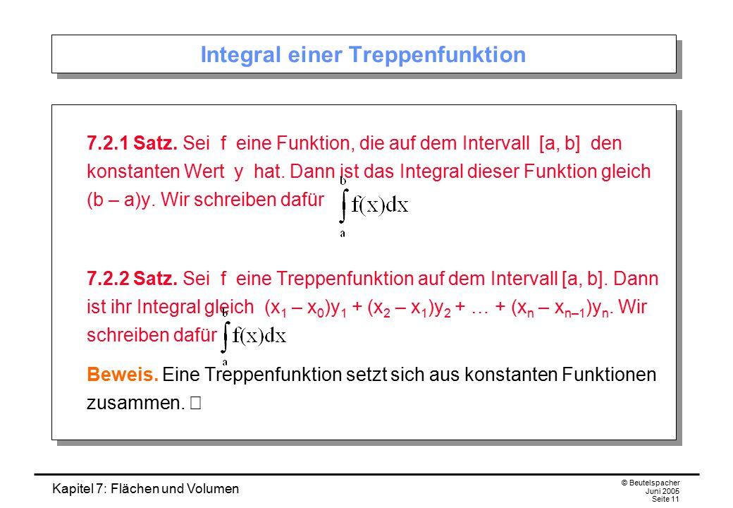 Kapitel 7: Flächen und Volumen © Beutelspacher Juni 2005 Seite 11 Integral einer Treppenfunktion 7.2.1 Satz. Sei f eine Funktion, die auf dem Interval
