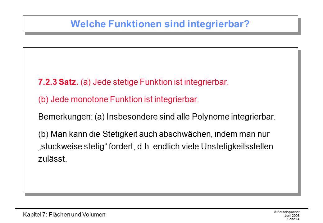 Kapitel 7: Flächen und Volumen © Beutelspacher Juni 2005 Seite 14 Welche Funktionen sind integrierbar? 7.2.3 Satz. (a) Jede stetige Funktion ist integ