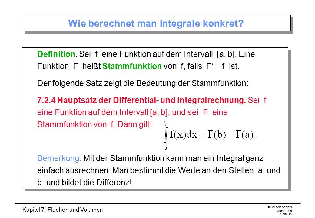 Kapitel 7: Flächen und Volumen © Beutelspacher Juni 2005 Seite 15 Wie berechnet man Integrale konkret? Definition. Sei f eine Funktion auf dem Interva
