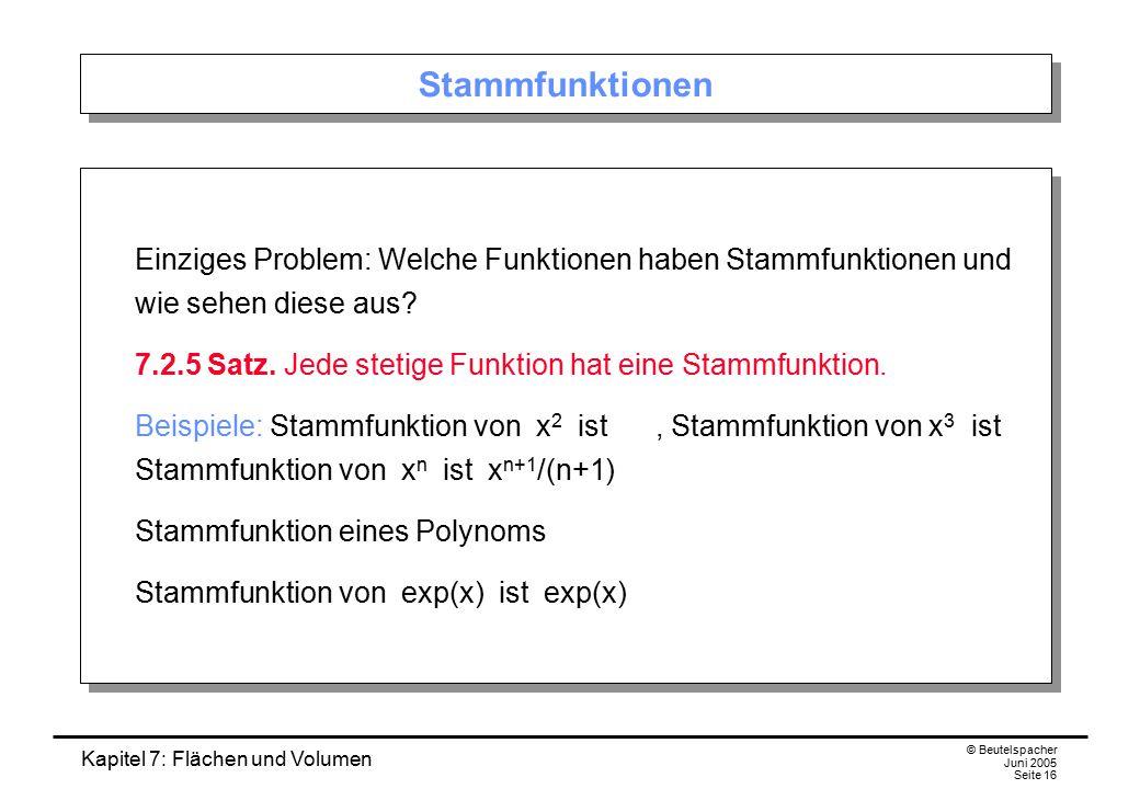 Kapitel 7: Flächen und Volumen © Beutelspacher Juni 2005 Seite 16 Stammfunktionen Einziges Problem: Welche Funktionen haben Stammfunktionen und wie sehen diese aus.