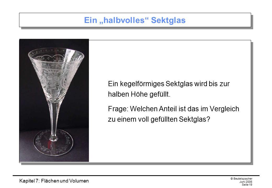 """Kapitel 7: Flächen und Volumen © Beutelspacher Juni 2005 Seite 19 Ein """"halbvolles Sektglas Ein kegelförmiges Sektglas wird bis zur halben Höhe gefüllt."""