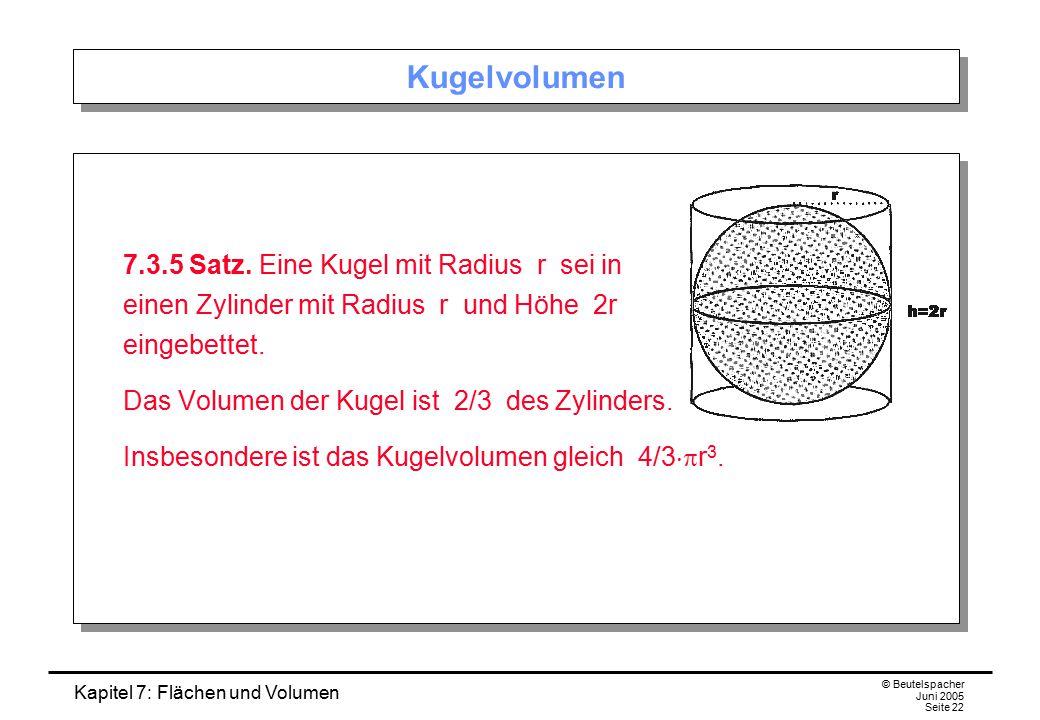 Kapitel 7: Flächen und Volumen © Beutelspacher Juni 2005 Seite 22 Kugelvolumen 7.3.5 Satz. Eine Kugel mit Radius r sei in einen Zylinder mit Radius r