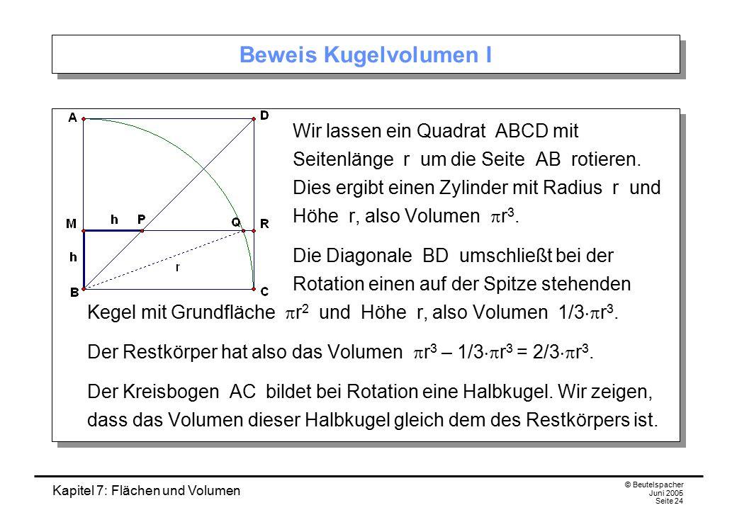 Kapitel 7: Flächen und Volumen © Beutelspacher Juni 2005 Seite 24 Beweis Kugelvolumen I Wir lassen ein Quadrat ABCD mit Seitenlänge r um die Seite AB