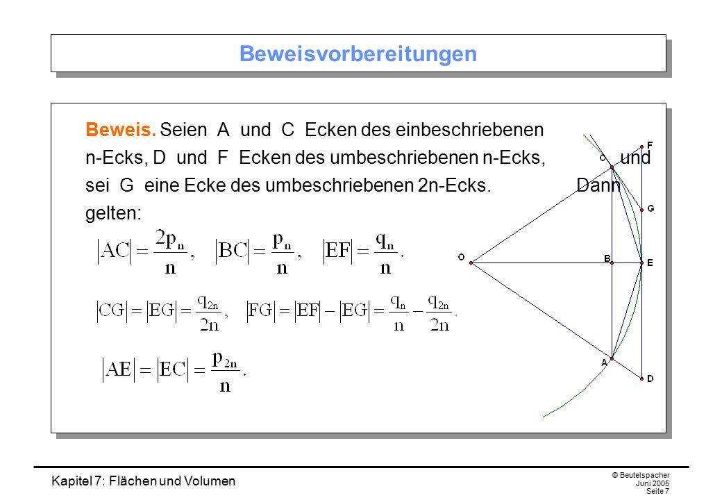 Kapitel 7: Flächen und Volumen © Beutelspacher Juni 2005 Seite 7 Beweisvorbereitungen Beweis. Seien A und C Ecken des einbeschriebenen n-Ecks, D und F