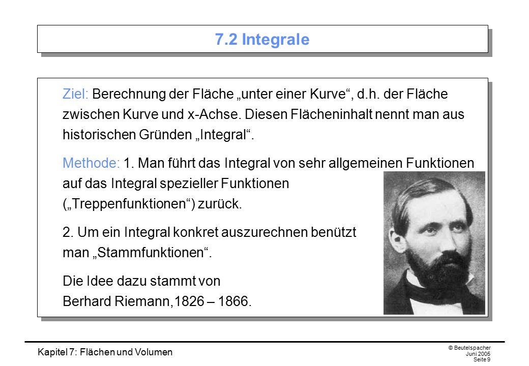 """Kapitel 7: Flächen und Volumen © Beutelspacher Juni 2005 Seite 9 7.2 Integrale Ziel: Berechnung der Fläche """"unter einer Kurve , d.h."""