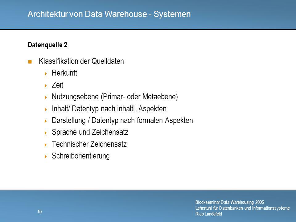 Architektur von Data Warehouse - Systemen Blockseminar Data Warehousing 2005 Lehrstuhl für Datenbanken und Informationssysteme Rico Landefeld 10 Datenquelle 2 Klassifikation der Quelldaten  Herkunft  Zeit  Nutzungsebene (Primär- oder Metaebene)  Inhalt/ Datentyp nach inhaltl.