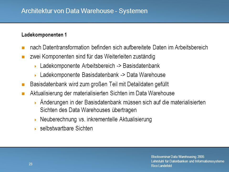 Architektur von Data Warehouse - Systemen Blockseminar Data Warehousing 2005 Lehrstuhl für Datenbanken und Informationssysteme Rico Landefeld 23 Ladekomponenten 1 nach Datentransformation befinden sich aufbereitete Daten im Arbeitsbereich zwei Komponenten sind für das Weiterleiten zuständig  Ladekomponente Arbeitsbereich -> Basisdatenbank  Ladekomponente Basisdatenbank -> Data Warehouse Basisdatenbank wird zum großen Teil mit Detaildaten gefüllt Aktualisierung der materialisierten Sichten im Data Warehouse  Änderungen in der Basisdatenbank müssen sich auf die materialisierten Sichten des Data Warehouses übertragen  Neuberechnung vs.