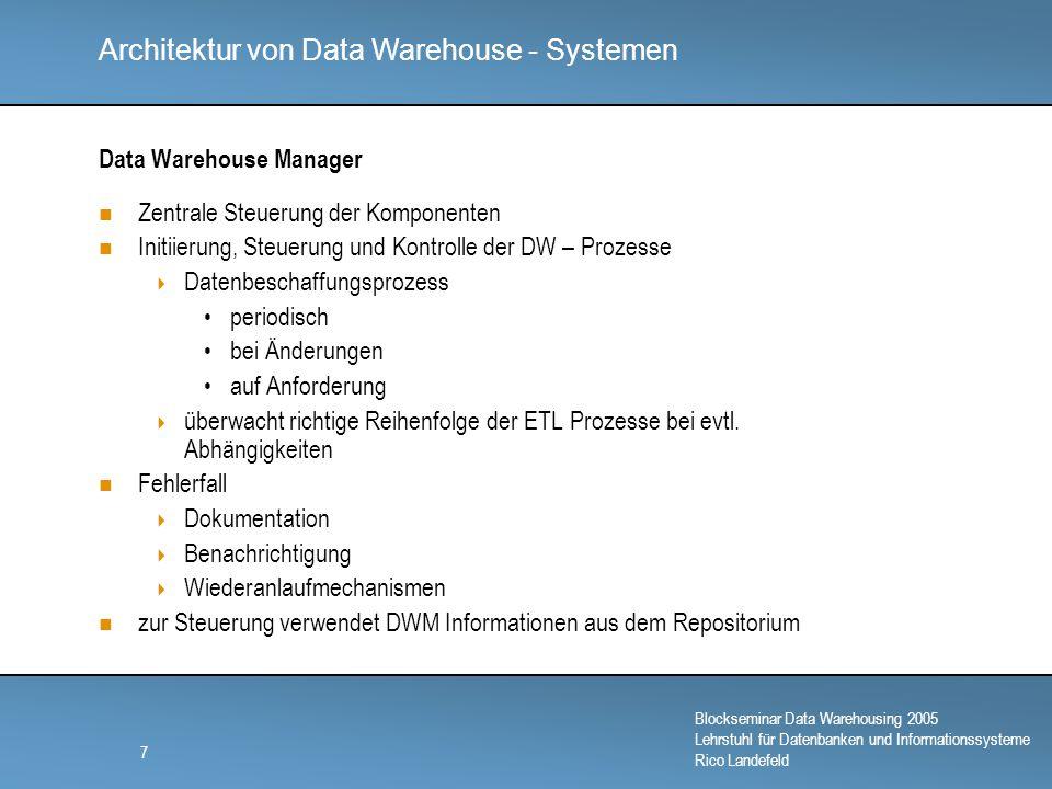 Architektur von Data Warehouse - Systemen Blockseminar Data Warehousing 2005 Lehrstuhl für Datenbanken und Informationssysteme Rico Landefeld 8 Datenquelle
