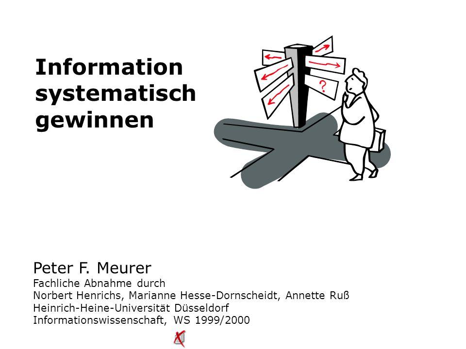 Meurer: «Information systematisch gewinnen», 122 Lieferformen  E-Mail — als komprimierte Datei (Attachment: TIFF, MPTIFF, Ariel) an Empfänger  FTP — als komprimierte Datei (s.o.) für eine festgelegte Zeit auf einem FTP-Server  Selbstabholung — ausgedruckt und zur Abholung bereitgestellt  Post — ausgedruckt und an Lieferadresse gesandt  Fax — über einen Fax-Server an Empfänger versandt Beschaffung