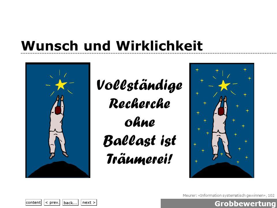 Meurer: «Information systematisch gewinnen», 102 Wunsch und Wirklichkeit Vollständige Recherche ohne Ballast ist Träumerei.