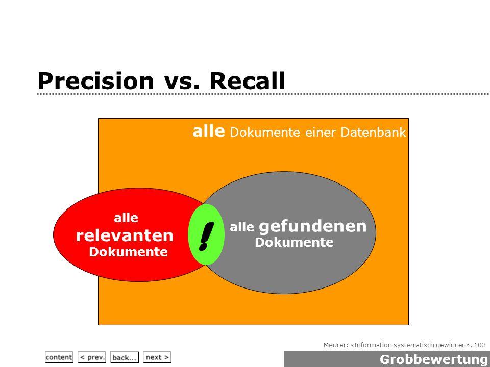 Meurer: «Information systematisch gewinnen», 103 Precision vs.