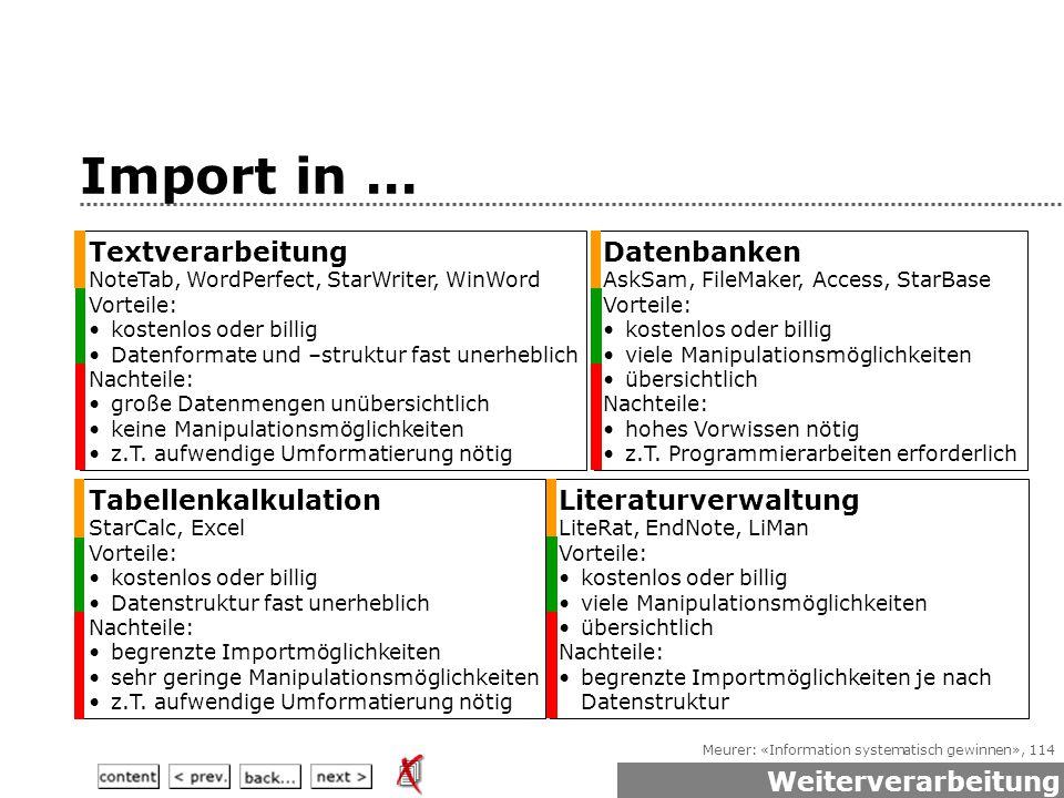 Meurer: «Information systematisch gewinnen», 114 Import in...