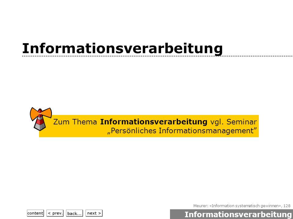 Meurer: «Information systematisch gewinnen», 128 Informationsverarbeitung Zum Thema Informationsverarbeitung vgl.