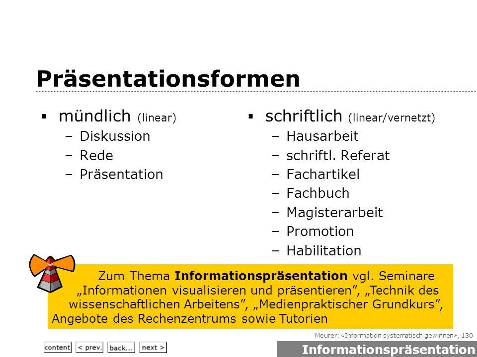 Meurer: «Information systematisch gewinnen», 130 Präsentationsformen  mündlich (linear) –Diskussion –Rede –Präsentation  schriftlich (linear/vernetzt) –Hausarbeit –schriftl.