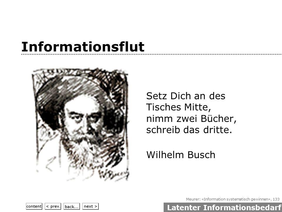 Meurer: «Information systematisch gewinnen», 133 Informationsflut Setz Dich an des Tisches Mitte, nimm zwei Bücher, schreib das dritte.