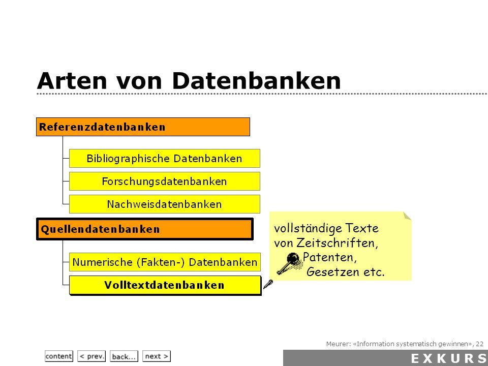 Meurer: «Information systematisch gewinnen», 22 Arten von Datenbanken vollständige Textevon Zeitschriften, Patenten, Gesetzen etc.