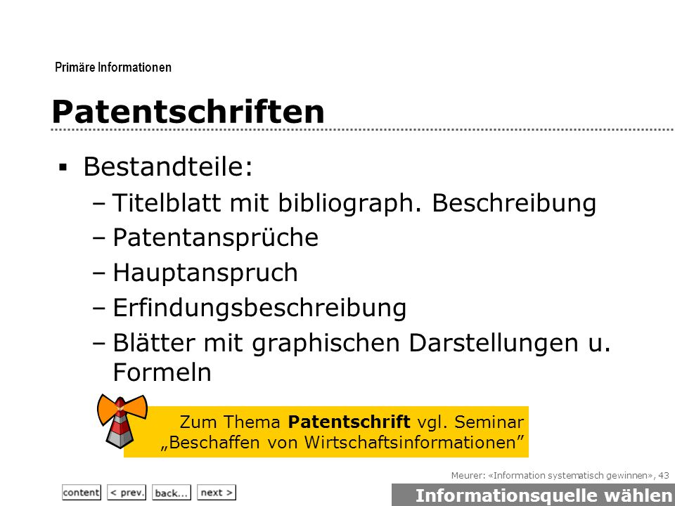Meurer: «Information systematisch gewinnen», 43 Patentschriften  Bestandteile: –Titelblatt mit bibliograph.
