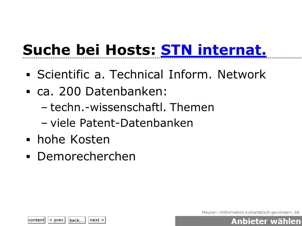 Meurer: «Information systematisch gewinnen», 68 Suche bei Hosts: STN internat.STN internat.