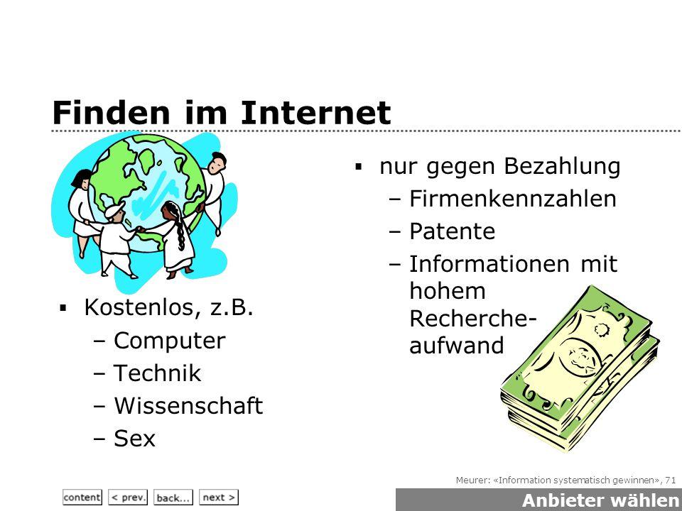 Meurer: «Information systematisch gewinnen», 71  Kostenlos, z.B.