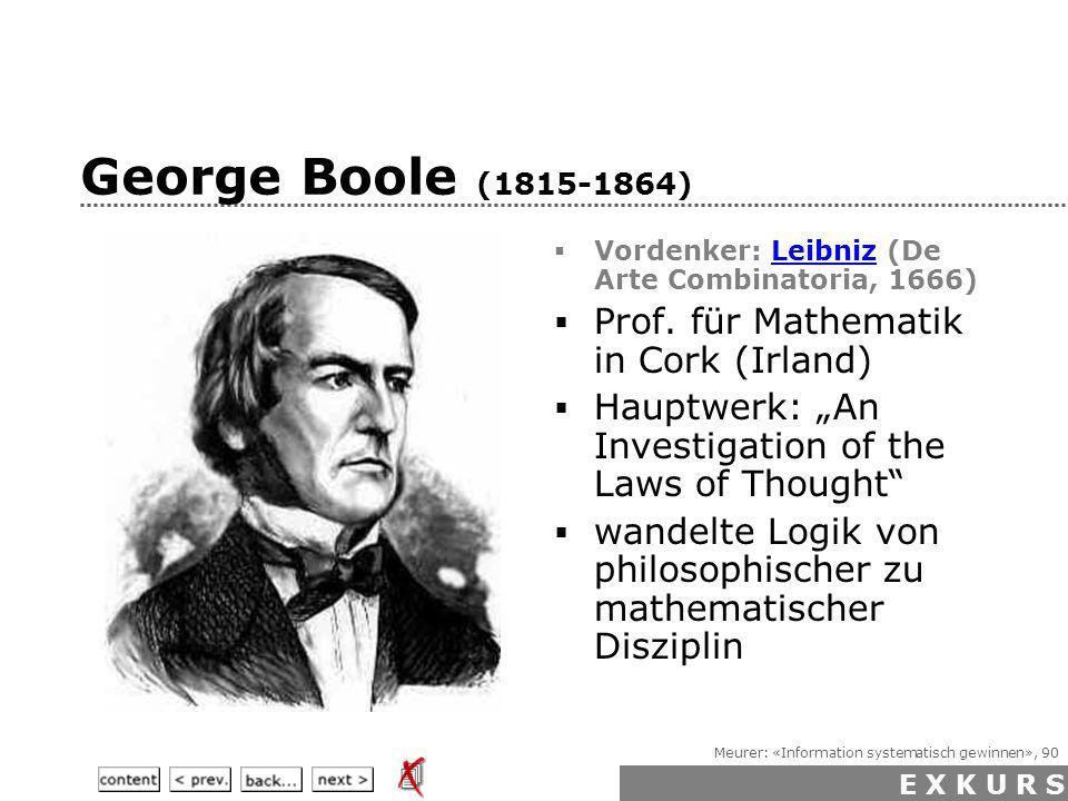 Meurer: «Information systematisch gewinnen», 90 George Boole (1815-1864)  Vordenker: Leibniz (De Arte Combinatoria, 1666)Leibniz  Prof.