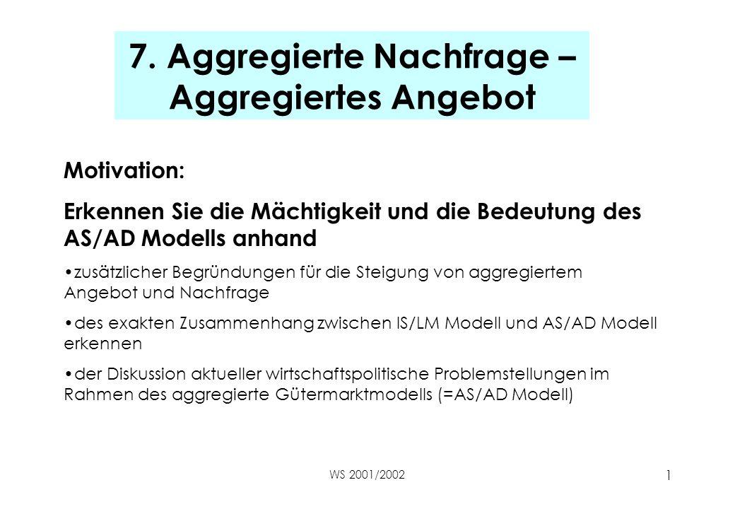 WS 2001/2002 1 7. Aggregierte Nachfrage – Aggregiertes Angebot Motivation: Erkennen Sie die Mächtigkeit und die Bedeutung des AS/AD Modells anhand zus