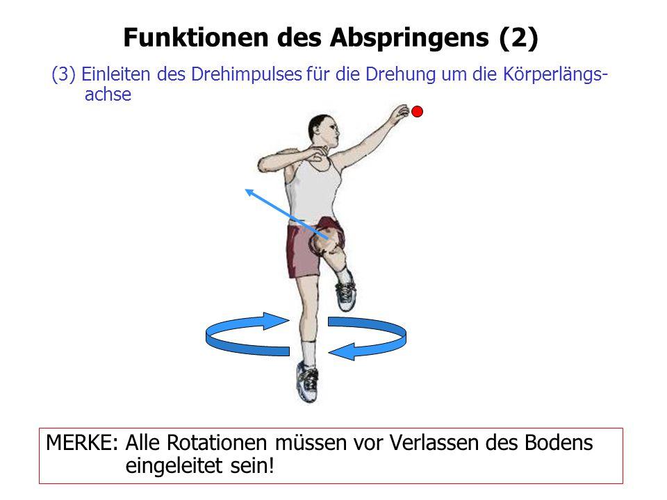 Funktionen des Abspringens (2) (3) Einleiten des Drehimpulses für die Drehung um die Körperlängs- achse MERKE: Alle Rotationen müssen vor Verlassen de