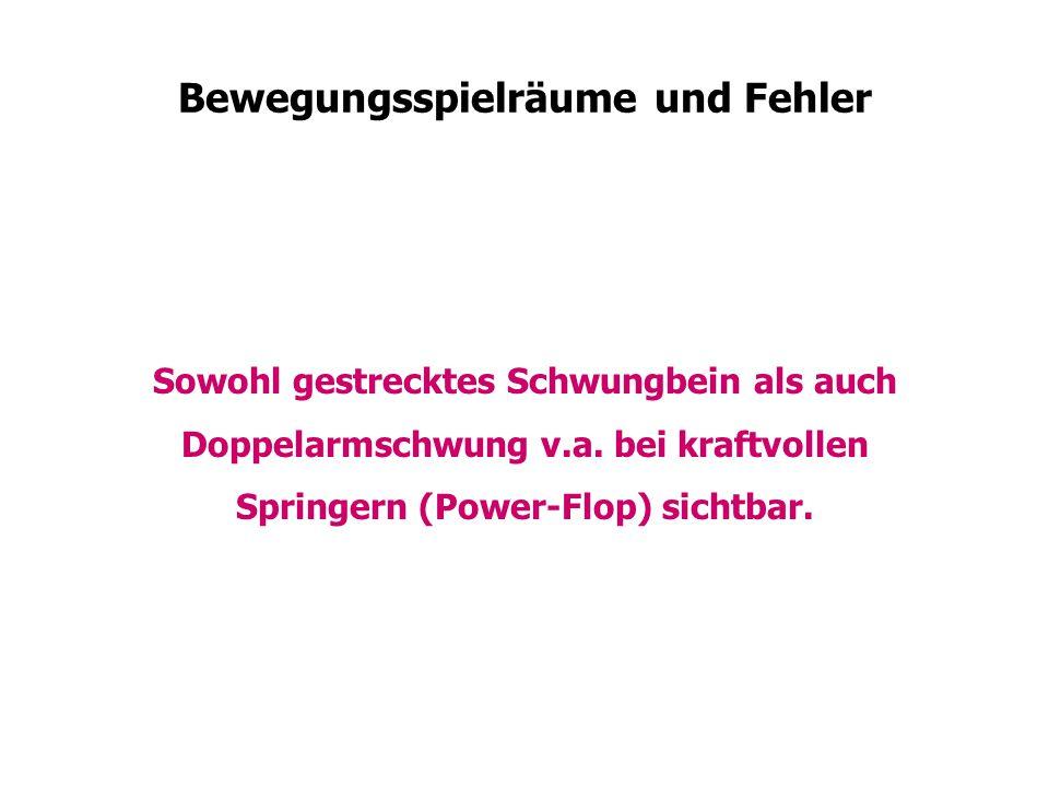 Bewegungsspielräume und Fehler Sowohl gestrecktes Schwungbein als auch Doppelarmschwung v.a. bei kraftvollen Springern (Power-Flop) sichtbar.