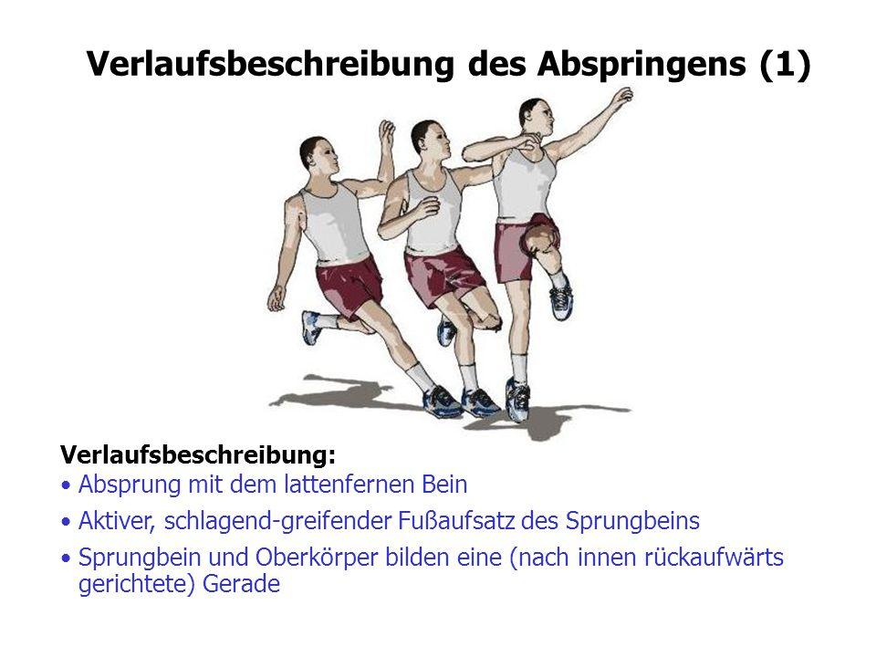 Verlaufsbeschreibung: Absprung mit dem lattenfernen Bein Verlaufsbeschreibung des Abspringens (1) Aktiver, schlagend-greifender Fußaufsatz des Sprungb