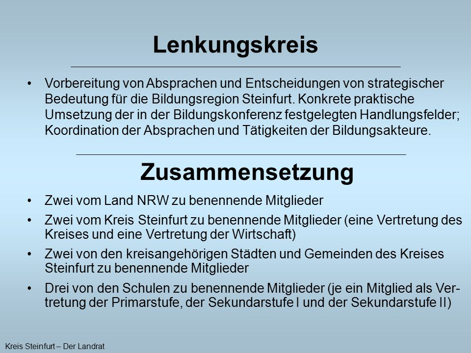 Lenkungskreis Vorbereitung von Absprachen und Entscheidungen von strategischer Bedeutung für die Bildungsregion Steinfurt. Konkrete praktische Umsetzu