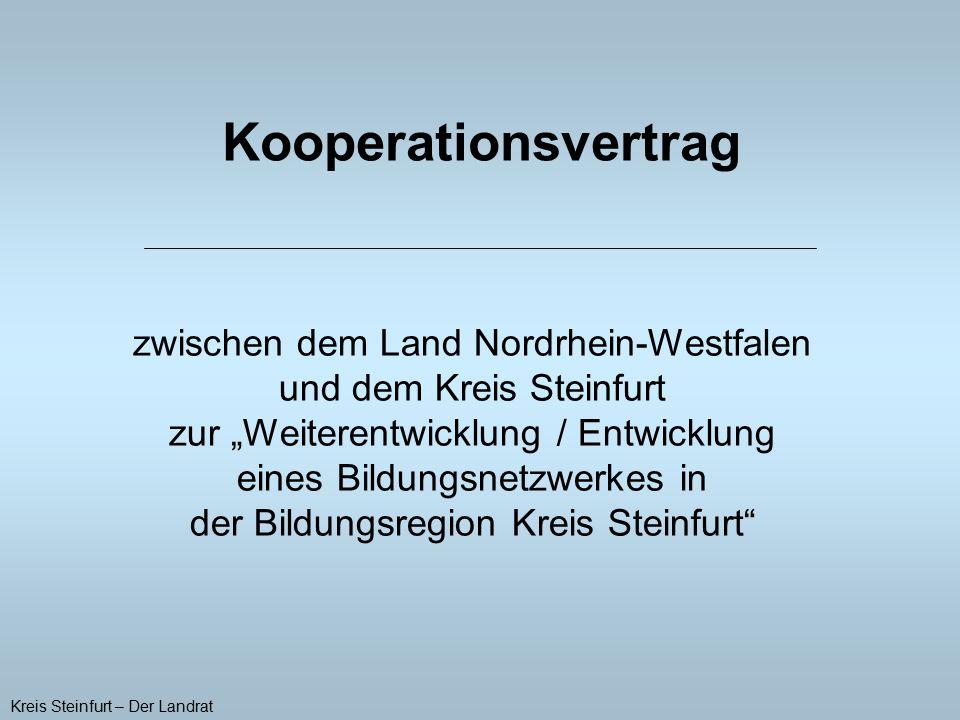 Langfristige Kooperation ohne zeitliche Begrenzung Gemeinsame interne Evaluation bis zum 31.07.2013 Vertragsunterzeichnung: 23.06.2008 in Düsseldorf Kreis Steinfurt – Der Landrat Laufzeit: 01.08.2008 – 31.07.2013