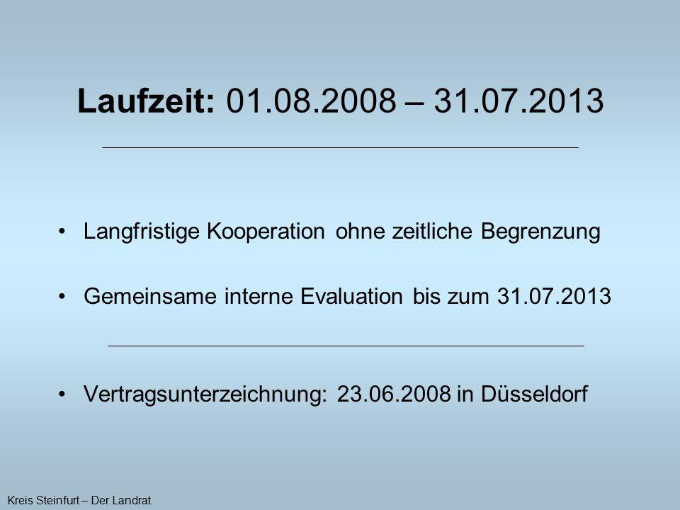 Langfristige Kooperation ohne zeitliche Begrenzung Gemeinsame interne Evaluation bis zum 31.07.2013 Vertragsunterzeichnung: 23.06.2008 in Düsseldorf K