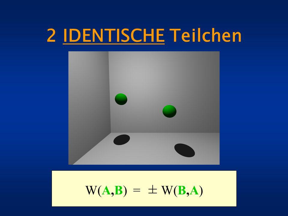 2 IDENTISCHE Teilchen W(A,B) = ± W(B,A)