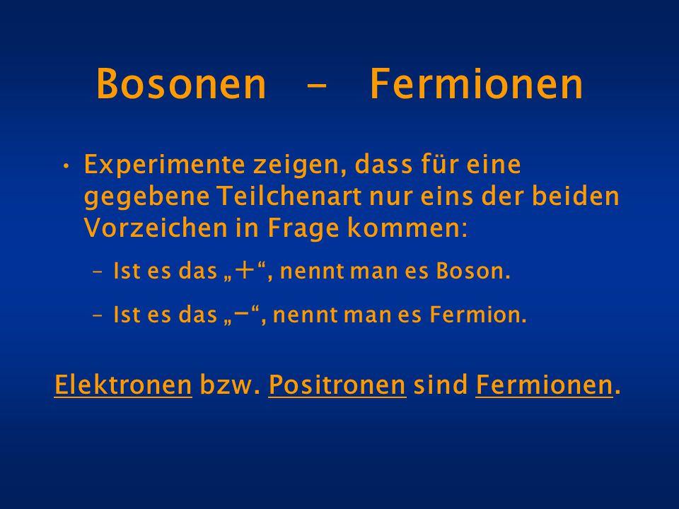 """Bosonen - Fermionen Experimente zeigen, dass für eine gegebene Teilchenart nur eins der beiden Vorzeichen in Frage kommen: –Ist es das """" + """", nennt ma"""