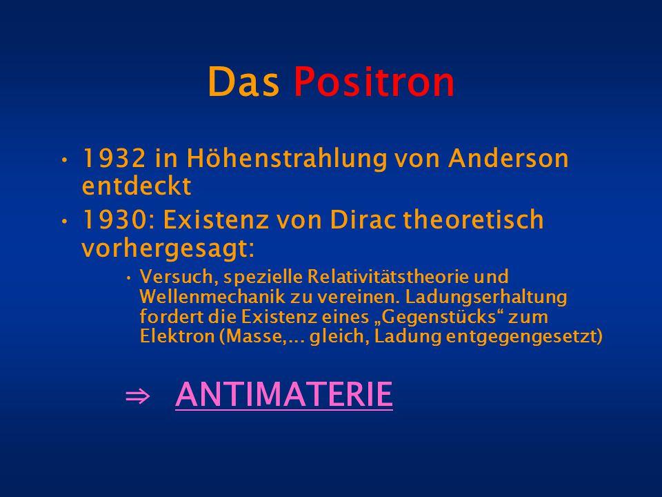 Das Positron 1932 in Höhenstrahlung von Anderson entdeckt 1930: Existenz von Dirac theoretisch vorhergesagt: Versuch, spezielle Relativitätstheorie un