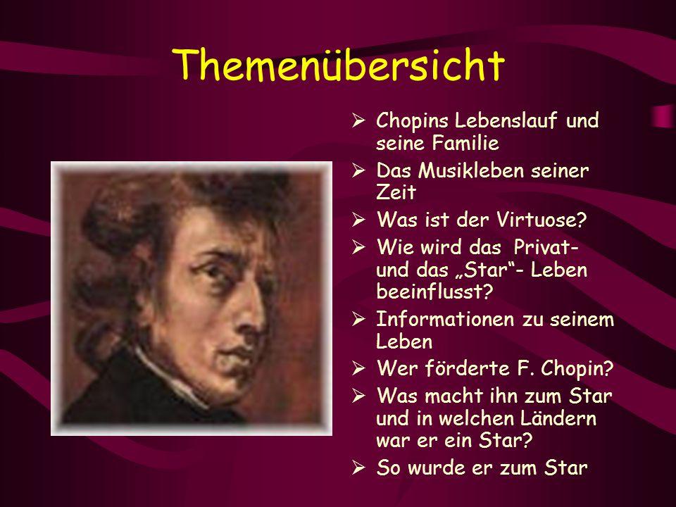 """Themenübersicht  Chopins Lebenslauf und seine Familie  Das Musikleben seiner Zeit  Was ist der Virtuose?  Wie wird das Privat- und das """"Star""""- Leb"""