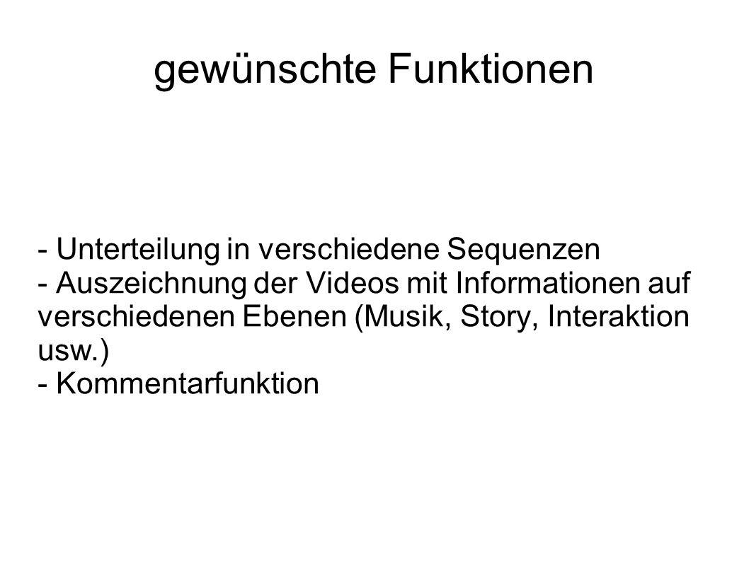 gewünschte Funktionen - Unterteilung in verschiedene Sequenzen - Auszeichnung der Videos mit Informationen auf verschiedenen Ebenen (Musik, Story, Interaktion usw.) - Kommentarfunktion