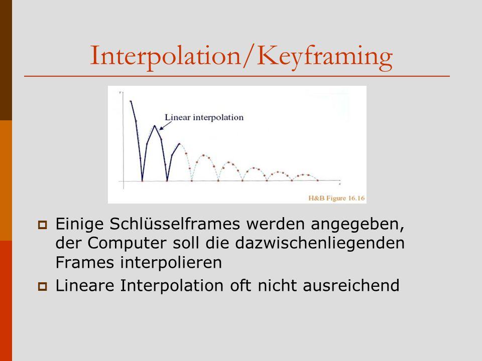 Interpolation/Keyframing  Einige Schlüsselframes werden angegeben, der Computer soll die dazwischenliegenden Frames interpolieren  Lineare Interpolation oft nicht ausreichend