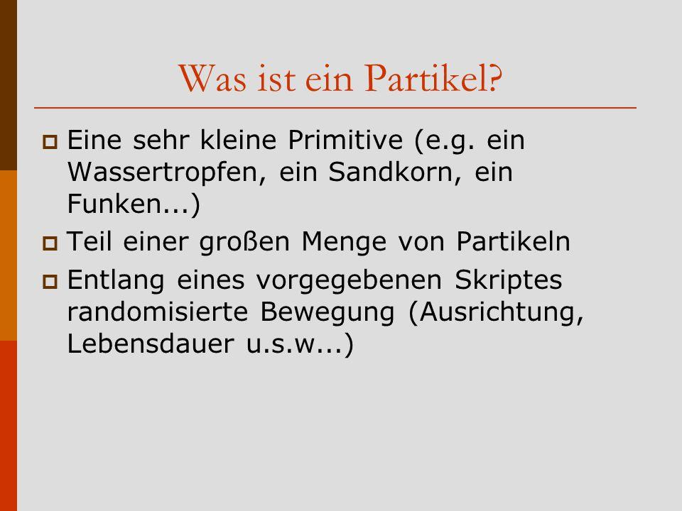 Was ist ein Partikel. Eine sehr kleine Primitive (e.g.