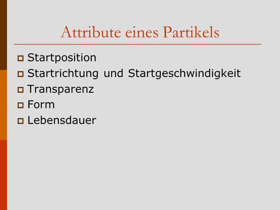 Attribute eines Partikels  Startposition  Startrichtung und Startgeschwindigkeit  Transparenz  Form  Lebensdauer