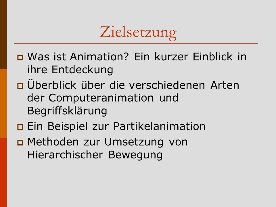 Struktur des Vortrags  Zielsetzung/Motivation  Entdeckung der Animation  Starrkörperanimation  Physikalische Simulation  Partikelanimation  Zusammengesetzte Strukturen / Hierarchische Bewegung  Verhaltensgesteuerte Animation