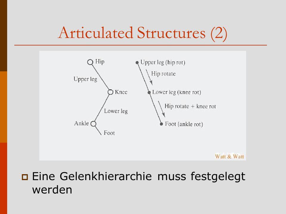 Articulated Structures (2)  Eine Gelenkhierarchie muss festgelegt werden
